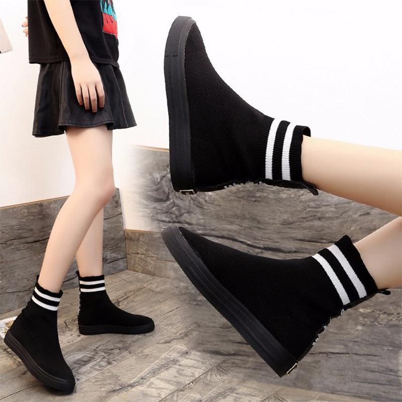 [해외]Konfon Martin Boots Women Knit Upper Breathable Women`s Boots Sock Boots Woman Chunky Shoes High Top Running Sport/Konfon Martin Boots Women Knit