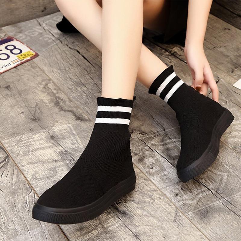 [해외]Konfon High Top Sneakers Women Knit Upper Breathable Sock Shoes Woman Thick Sole 3.5 CM Fashion sapato feminino Black 2019/Konfon High Top Sneaker