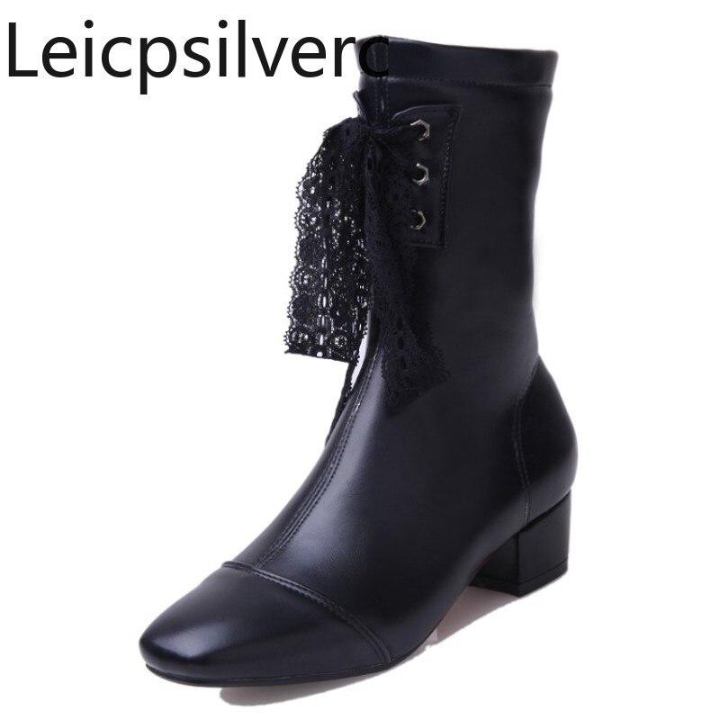 [해외]Women`s Boots Autumn and winter Square head mid heel Middle tube Martin boots Black white gray plus size 33-43/Women`s Boots Autumn and winter Squ