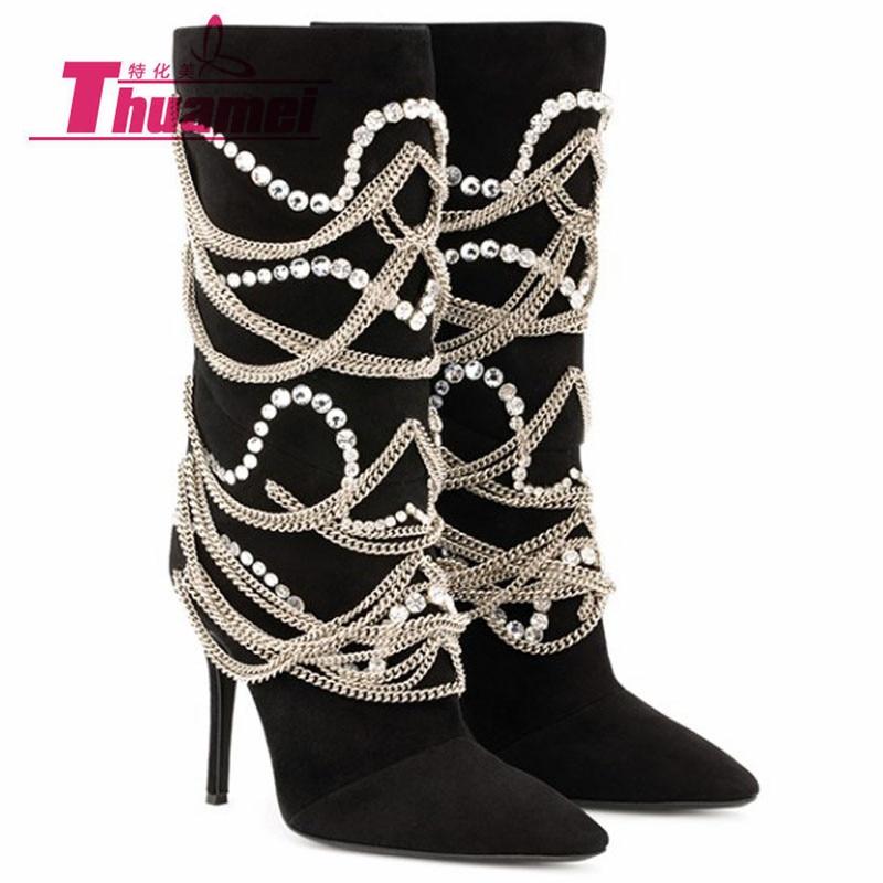 [해외]High Heels Motorcycle Chain Women`s Fashion Mid-Calf Autumn Winter Women Boots Shoes Woman Best Black W003621G/High Heels Motorcycle Chain Women`s