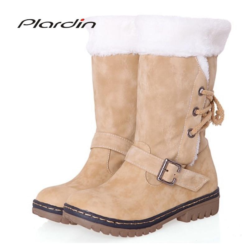 [해외]Plardin New plus size 34-46 Fashion Women Boots Winter Warm And Comfortable Mid-calf Boots Womens Buckle Sewing Boots Shoes/Plardin New