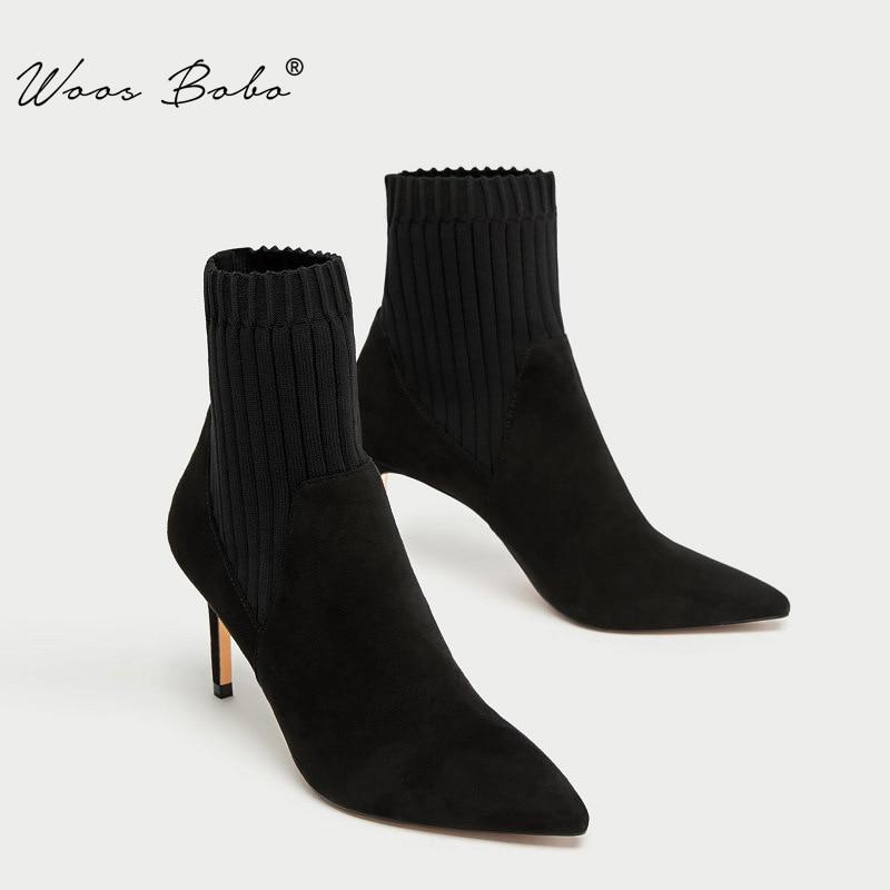 [해외]탄성 스티칭 양말 부츠 여성 스웨이드 섹시한 지적 스틸 레토 하이힐 여성 중반 부츠 2019 가을/겨울 패션 여성 신발/탄성 스티칭 양말 부츠 여성 스웨이드 섹시한 지적 스틸 레토 하이힐 여성 중반 부츠 2019 가을/겨울 패션 여성 신발