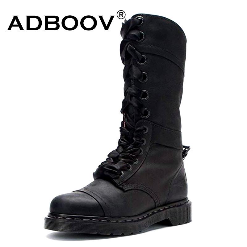 [해외]Adboov 꽃 프린트 안감 롱 부츠 여성 가죽 블랙 martens ridding 부츠 신발 여성 botas mujer invierno 2019 크기 43