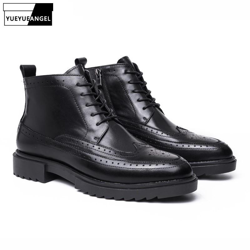 [해외]Vintage Lace Up  Boots Men British Pointed Toe Genuine Leather Brogue Boots Winter Height Increasing Ankle Shoes Men Black/Vintage Lace Up  Boots