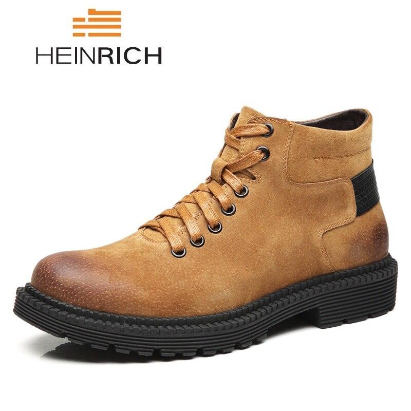 [해외]HEINRICH  Men Boots Leather Casual Shoes Men Work Boots Fashion Lace-Up Waterproof Man Boots Chaussures Hommes En Cuir/HEINRICH  Men Boots Leather