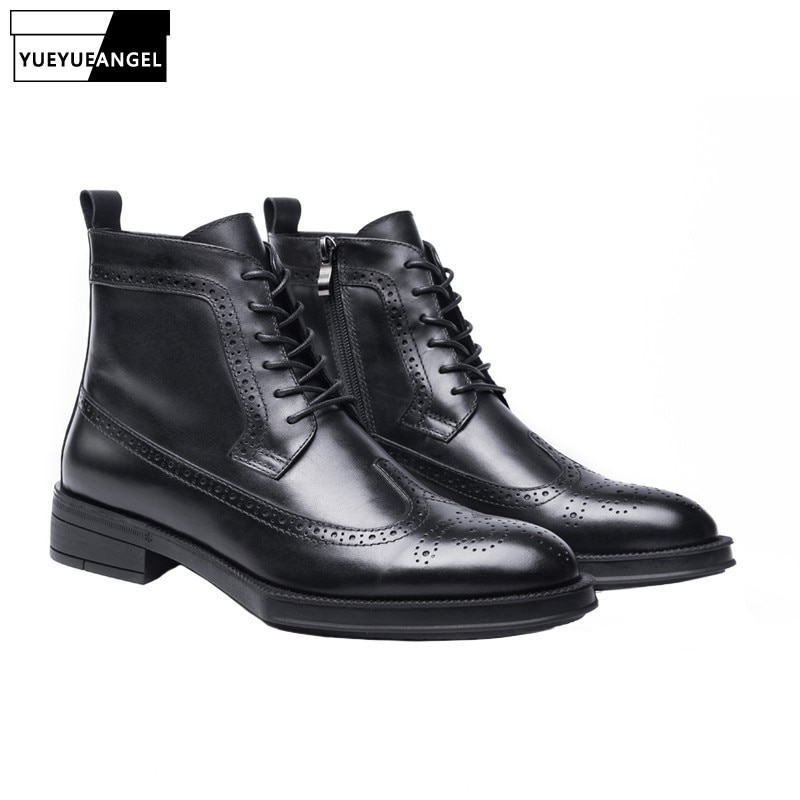 [해외]Designer Round Toe Brogue Carved Boots Men Luxury Lace Up Formal Ankle Shoes Top Quality Winter Side Zip Thick Bottom Boots Men/Designer Round Toe