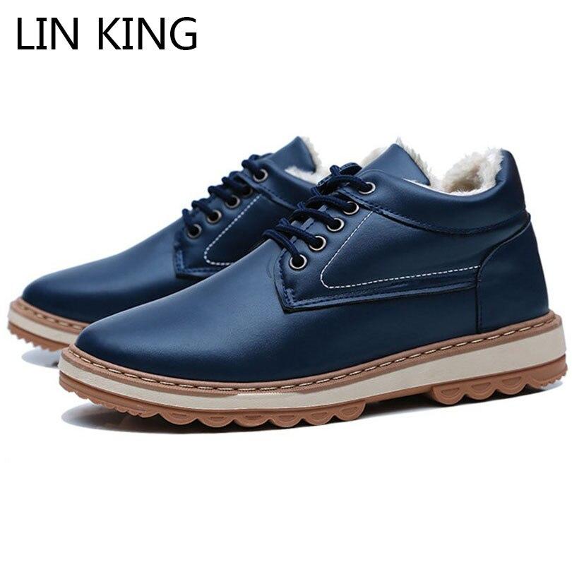 [해외]LIN KING Fashion Winter Men Ankle Boots Thick Sole Warm Plush Short Shoes Lace Up Short Botas High Top Man Cotton Padded Shoes /LIN KING Fashion W