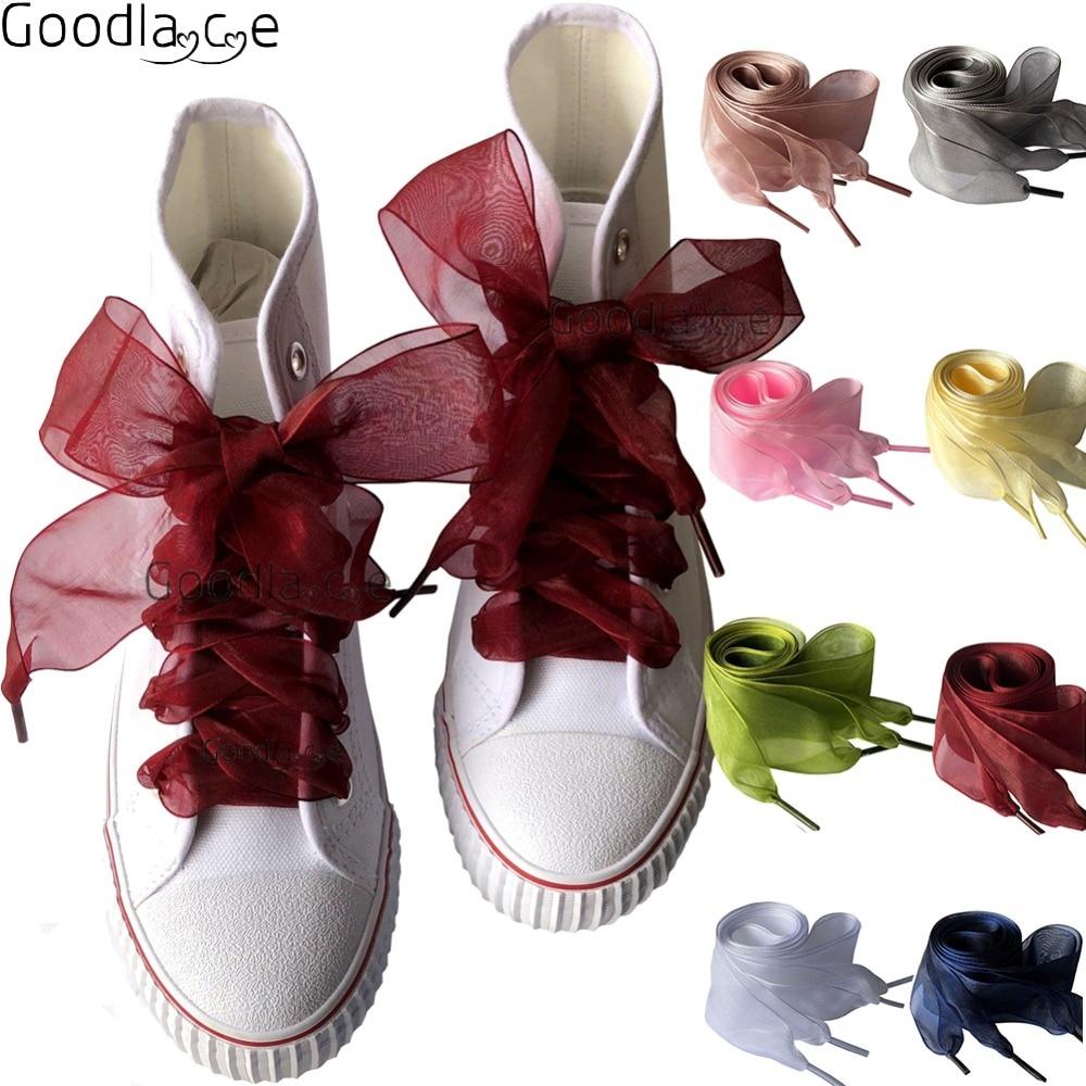 [해외]4cm Wide Chiffon Shoelaces Flat Ribbon Shoe Laces for Sneaker Sport Shoes 140cm/55Inch/4cm Wide Chiffon Shoelaces Flat Ribbon Shoe Laces for Sneak