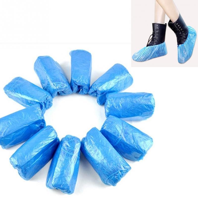 [해외]100 pcs 플라스틱 일회용 신발 커버 비오는 날 카펫 바닥 보호기 두꺼운 청소 신발 커버 블루 방수 오버 슈즈/100 pcs 플라스틱 일회용 신발 커버 비오는 날 카펫 바닥 보호기 두꺼운 청소 신발 커버 블루 방수 오버 슈즈