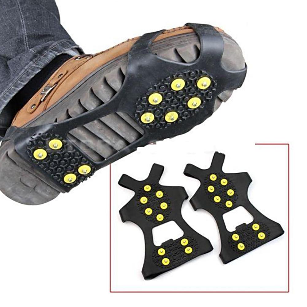 [해외]10 스터드 s m l 미끄럼 방지 스노우 슈 스파이크 겨울 안티 슬립 아이스 그립 클리트 크램폰 등산 야외 신발 커버 크램폰 #734