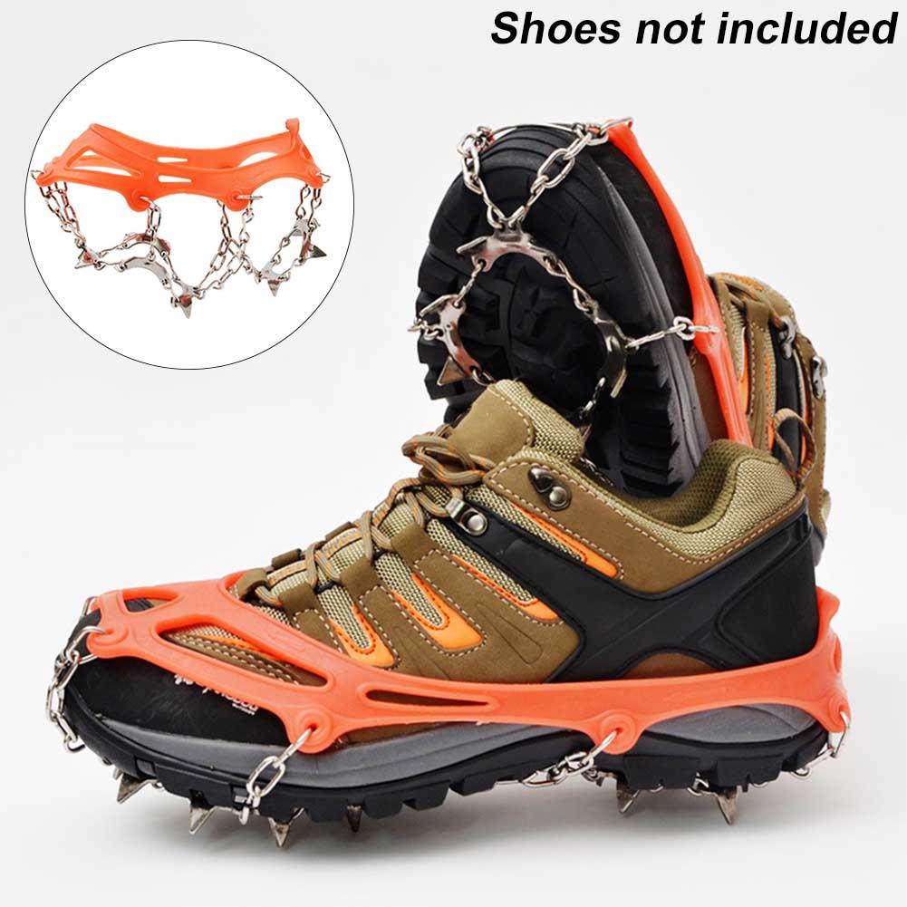 [해외]1 Pair Shoe Cover Antiskid Snow 13 Teeth Fishing Sports Winter Hiking Spikes Stainless Steel Outdoor Climbing Ice Grip Crampons/1 Pair S