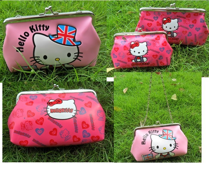 작은 지갑 지갑의 핫 새로운 HELLOKITTY 더블 지갑 / 헬로 키티 금속 버클 한국어 버전/Hot New HelloKitty double purse / Hello Kitty metal buckle Korean version of the small purse